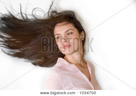 Brunette With Waving Hair