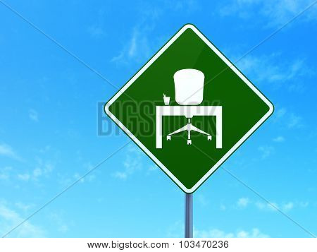 Finance concept: Office on road sign background
