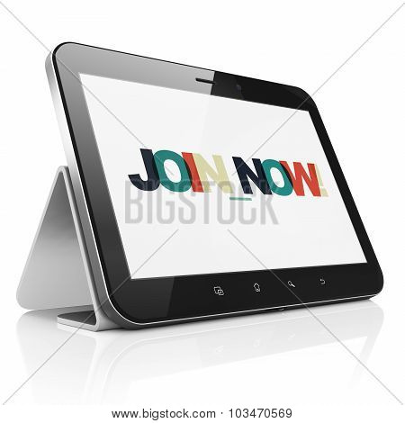 Social media concept: Tablet Computer with Join now on  display