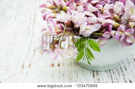 Bowl With Acacia Flowers