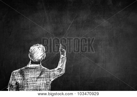 Sketch Successful Businessman Pointing Something