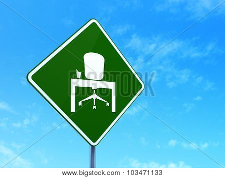 Business concept: Office on road sign background