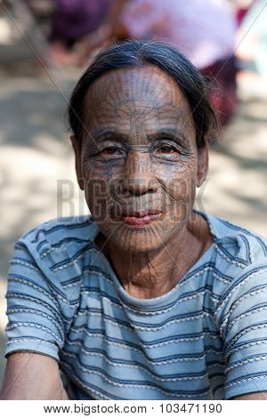 Chin Tribe Tatoed Women, Myanmar