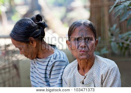 Chin Tribal Tattoed Woman, Myanmar