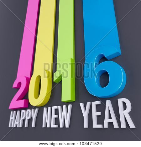 Happy New Year 2016 composition in gray and white with 3D and colorful lines