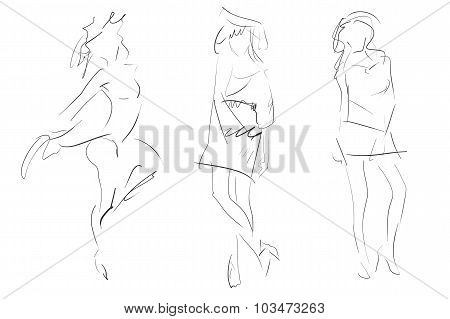 Concept Women Fashion Sketch, Collection Set