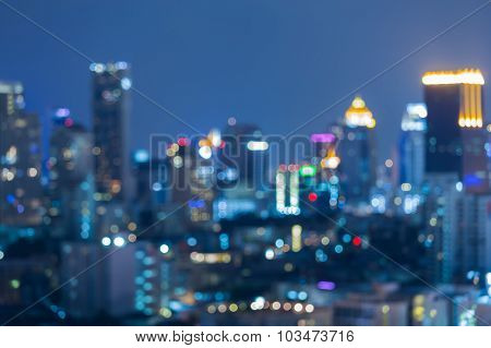 Abstractr blurred of city bokeh lights night view