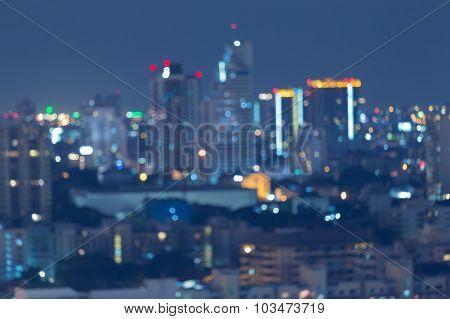 Blurred of city bokeh lights night view