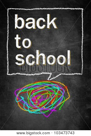 Back To School, Chalk Board With Colorful Lines