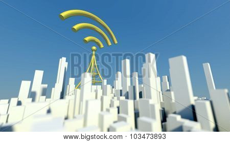 3D Wireless Network In Miniature City With Wifi Tower, Concept Of Communication