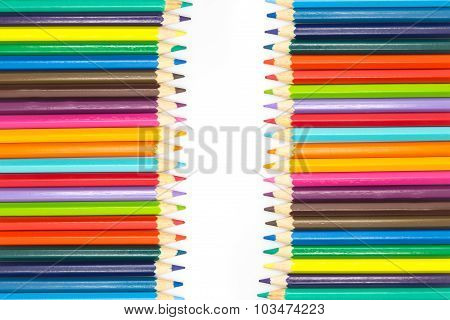 Set of colours wooden pencils on white background