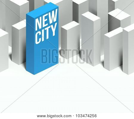 3D New City Conceptual Model Of Downtown With Distinctive Skyscraper