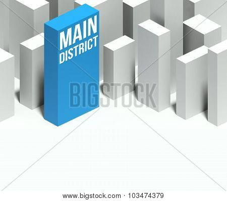 3D Main District Conceptual Model Of City With Distinctive Skyscraper