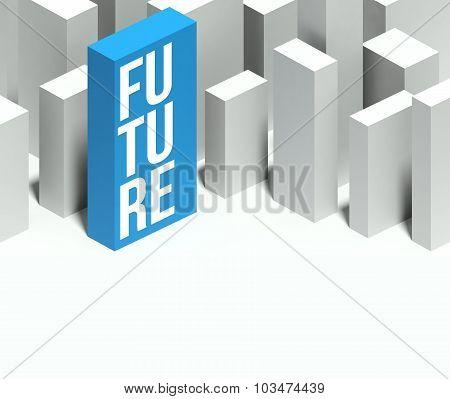 3D Future Conceptual Model Of City With Distinctive Skyscraper