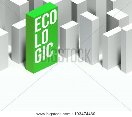 3D Ecologic Conceptual Of City With Distinctive Skyscraper