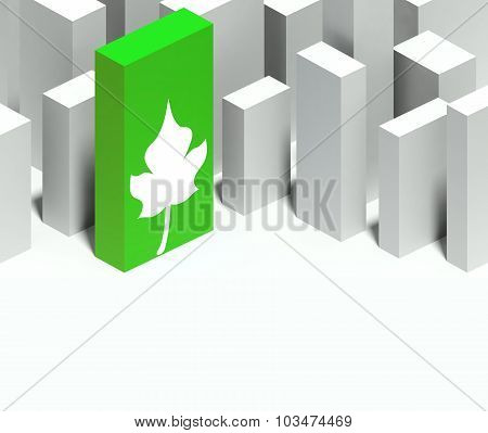 3D Eco Leaf Symbol In Conceptual Model Of City With Distinctive Skyscraper