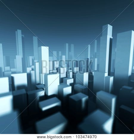 3D Model Of City Downtown, Architectural Concept