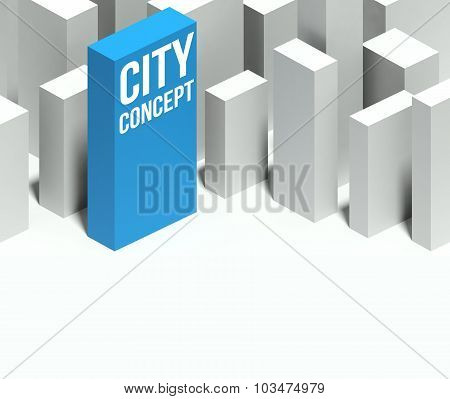 3D City Concept Model Of Downtown With Distinctive Skyscraper