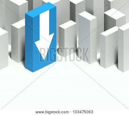 3D Arrow Symbol In Conceptual Model Of City With Distinctive Skyscraper