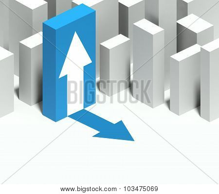 3D Arrow Symbol In Conceptual Model Of City With Distinctive Skyscraper