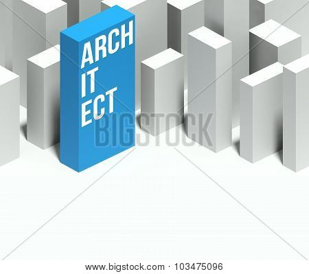 3D Architect Conceptual Model Of City With Distinctive Skyscraper