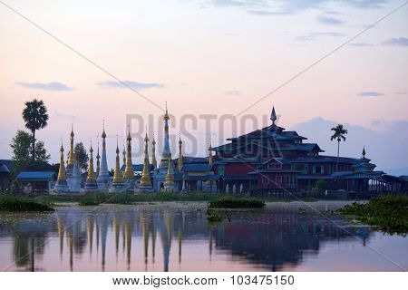 Ancient Pagoda And Monastery At Sunrise On Inle Lake, Myanmar