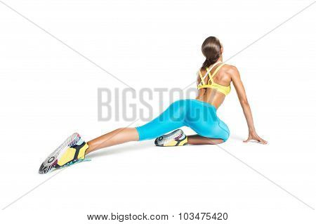 Professional Sportswoman Stretching On White Background