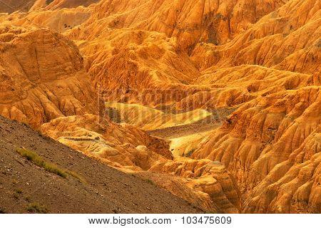 Orange Colourful Rocks And Stones - Moonland, Mountains , Ladakh, Leh, Jammu Kashmir, India