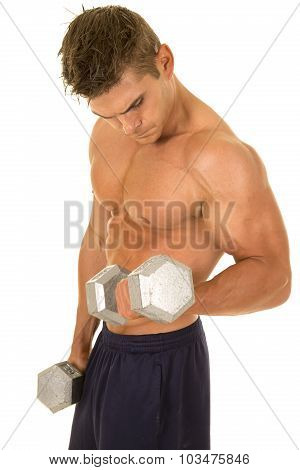 Shirtless Strong Man Curl Weight Look Down