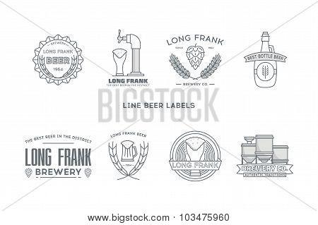 Line beer labels. Stock vector.