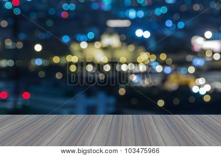 Opening wooden floor, Defocused blur bokeh background thailand white house