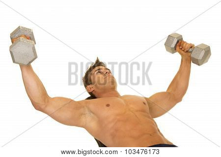 Shirtless Strong Man Lay Back Flies