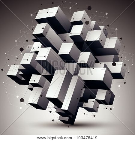 Geometric monochrome polygonal structure with lines mesh, modern science and technology element.