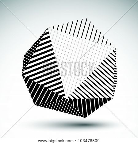 Abstract 3D polygonal vector contrast figure, art spherical striped object. Monochrome geometric