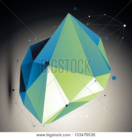 Blue contemporary technological misshapen construction, colorful abstract 3d background