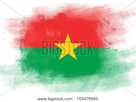 Flag Of Burkina Faso Painted With Brush