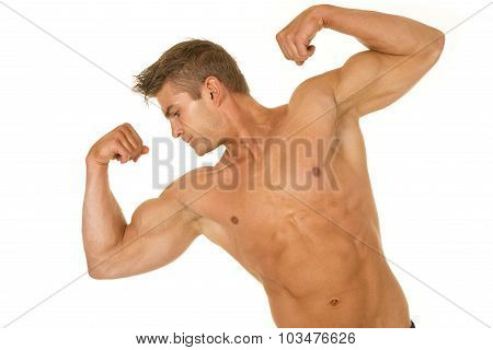 Shirtless Strong Man Tilt And Flex Look To Side