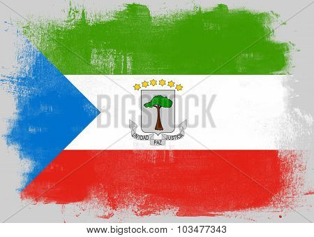 Flag Of Equatorial Guinea Painted With Brush