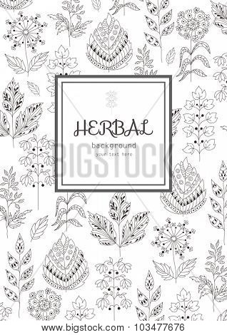 Background with Abstract Decorative Grasses, Leafs, Flowers. Herbal and Seasonal Pattern.