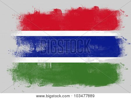 Flag Of Gambia Painted With Brush
