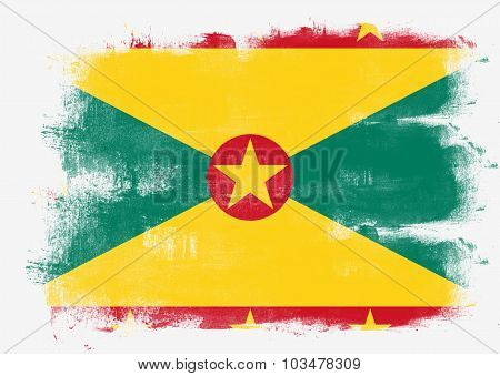 Flag Of Grenada Painted With Brush