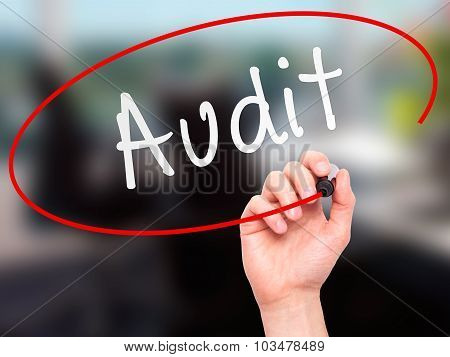 Man Hand writing Audit with marker on transparent wipe board