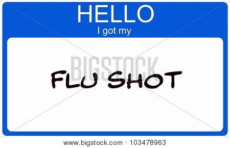 Hello I Got My Flu Shot Blue Name Tag Sticker