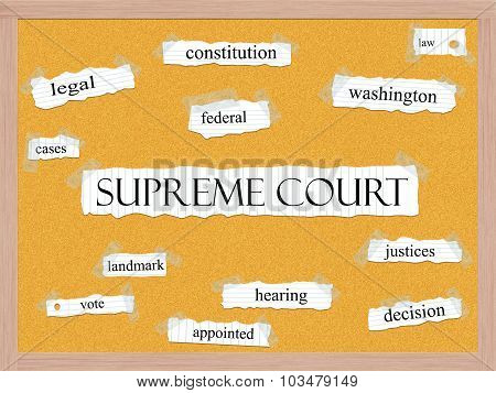 Supreme Court Corkboard Word Concept