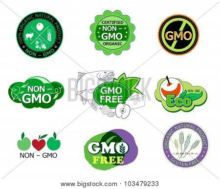 Set of  non GMO icons and logo.