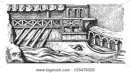 Prior to a Roman ship, vintage engraving.
