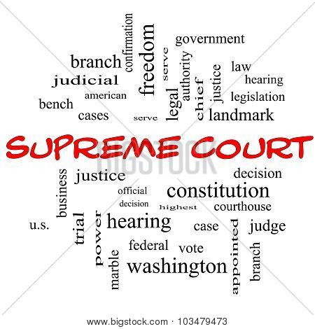 Supreme Court Word Cloud Concept In Red Caps