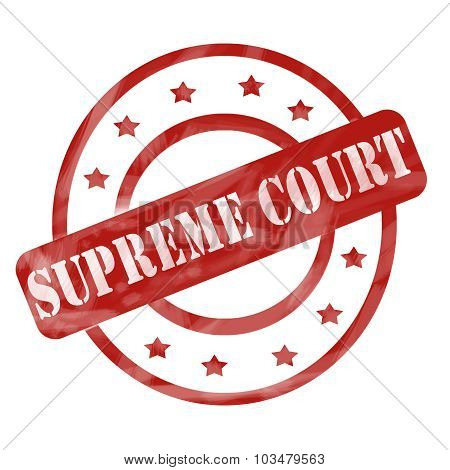 Red Weathered Supreme Court Stamp Circles And Stars