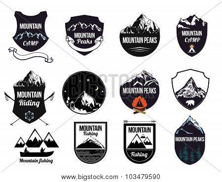 Set mountains logo, labels and design elements.