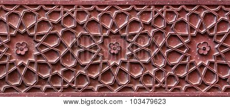 Stone Pattern On Temple Wall In Red Fort, Agra